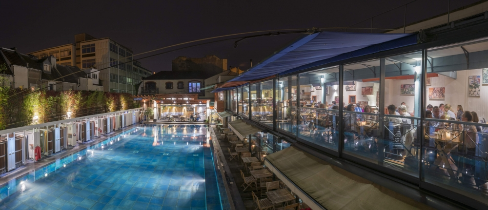 restaurant and pool night time
