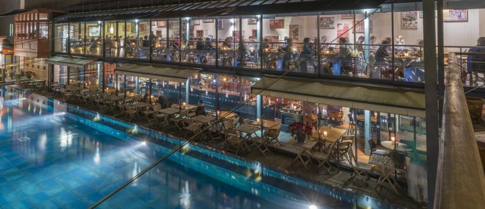 bar and restaurant at night